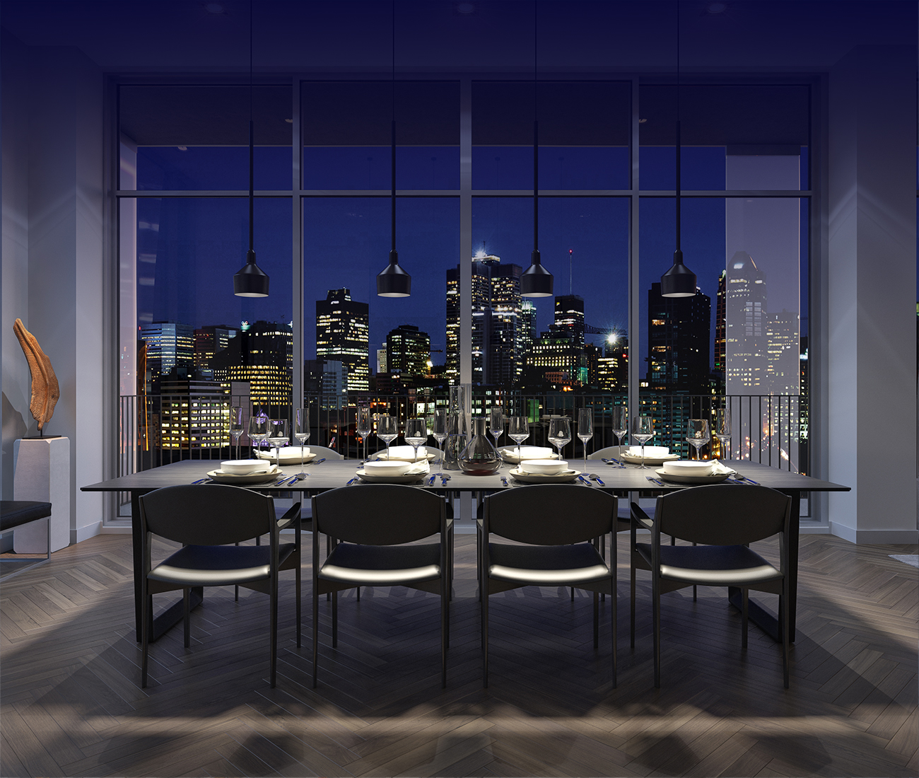 Interior-design common-space dinning-room Montreal downtown luxury condo