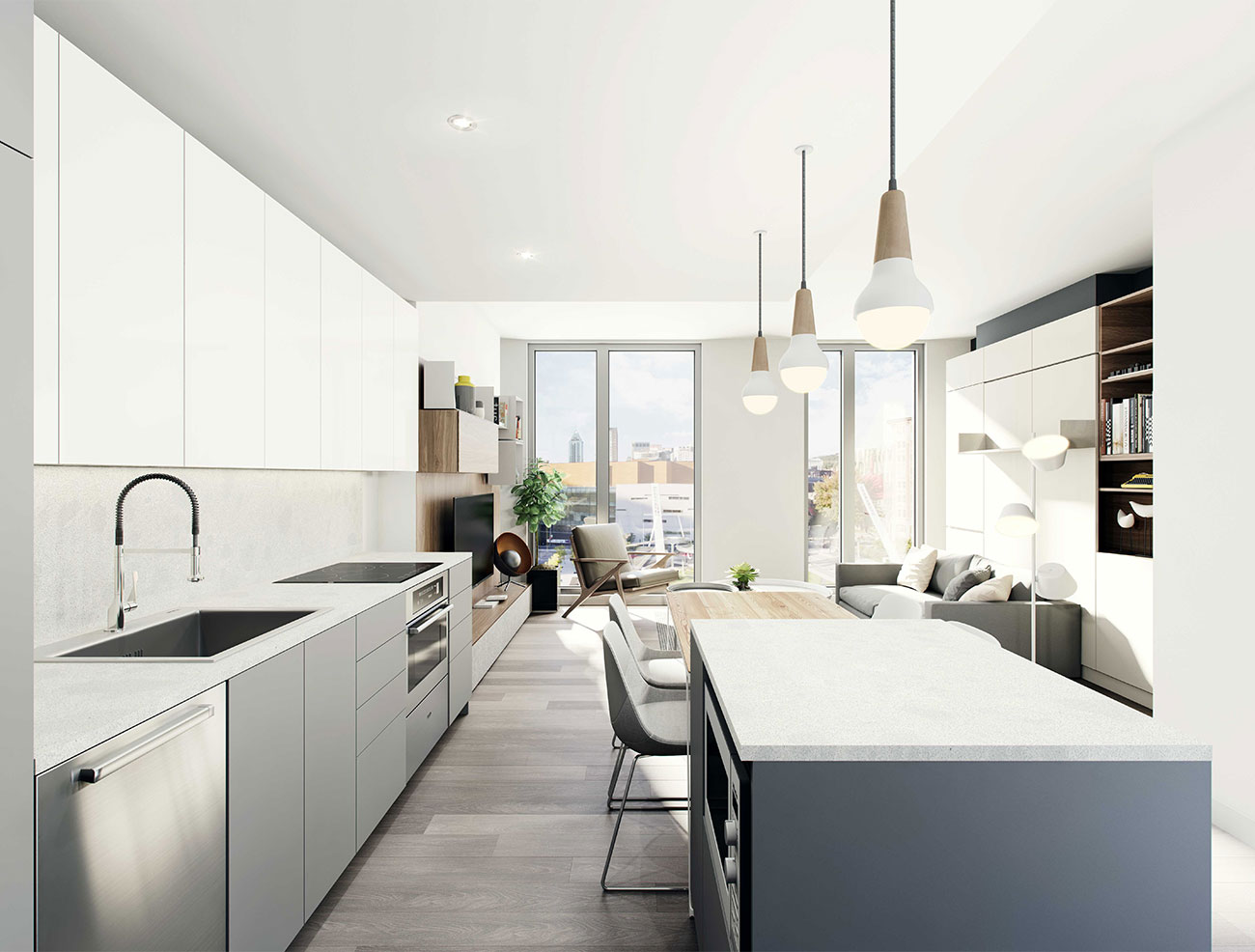 Bright-kitchen new-condo downtown montreal