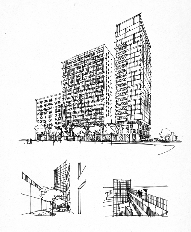 Concept drawing of the new luxury-condos downtown Montreal