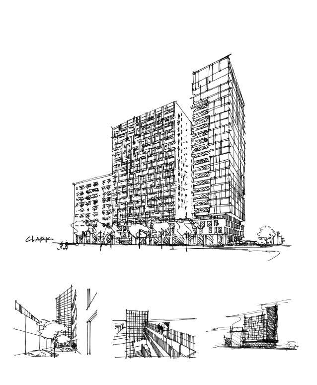 Drawing sketch ideation concept architecture new condo luxury Montreal downtown contemporary
