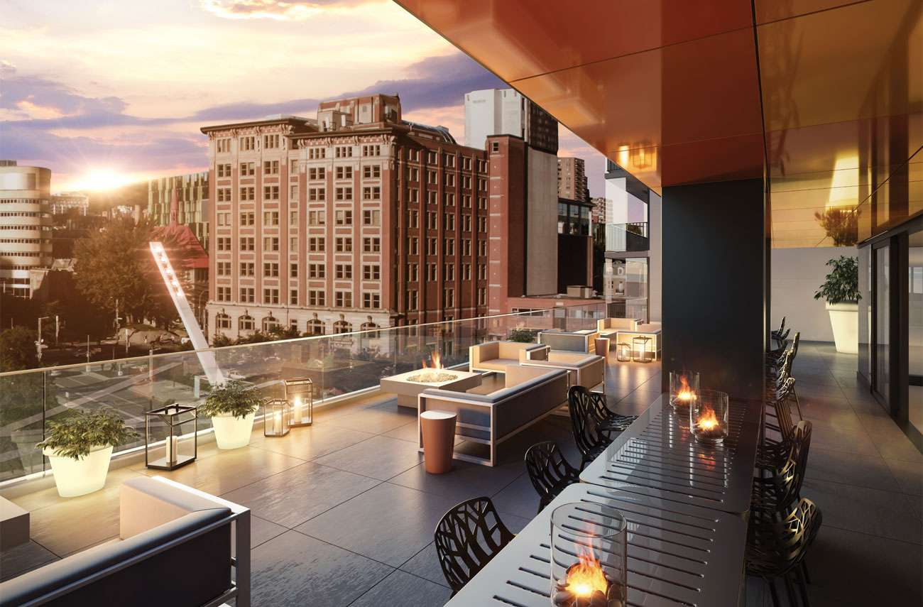 Balcony-terrace top-floor condo-luxury downtown Montreal view on quartier-des-spectacles